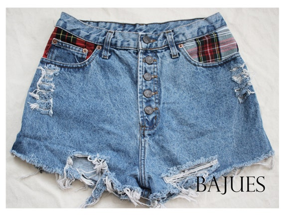 Grunge Flannel High Waisted Shorts