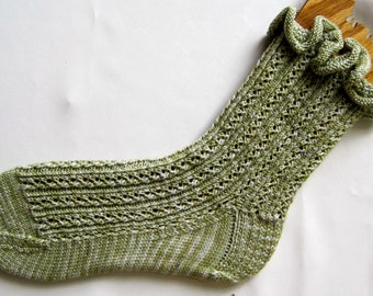 Knit Sock Pattern:  Lace Rib with Optional Ruffle Sock Knitting Pattern