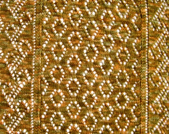 Knit Wrap Pattern:  Mrs. Montague's Wide Bordered Lace Shawl Knitting  Pattern