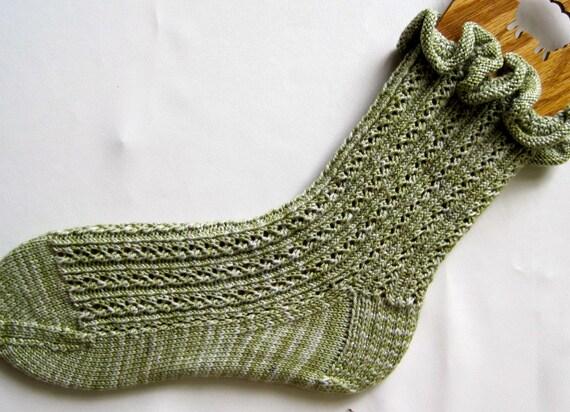 Knit Sock Pattern:  Lace Rib with Optional Ruffle Sock Knitting Pattern