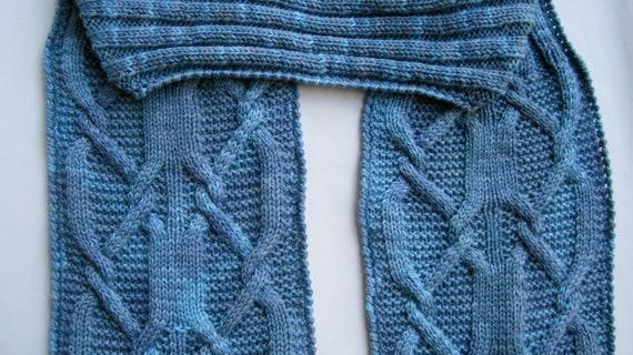 Knit Scarf Pattern:  Latch Hook Cable Turtleneck Scarf Pattern