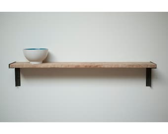Minimal Wall Mount Shelf. Reclaimed Old Growth Wood and Iron