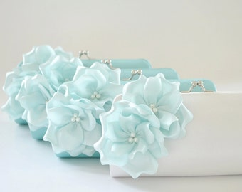 Set of 12  Small Bridesmaid clutches / Wedding clutches - CUSTOM COLOR