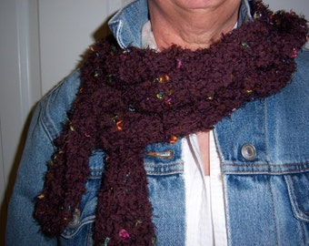 50% SALE-Dark Chocolate Warmth-brown Italian yarn w/ multicolored flecks of fire, hand knit, women, long skinny scarf, crazyadsteam