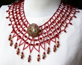Statement Necklace Lady in Red with Swarovski Crystals and Seed beads Necklace, A Love Story