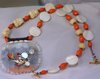 Temptation Necklace and Earrings Set   Beadwoven Fish Bowl with Vintage Fish Pin and Bone Cat beads