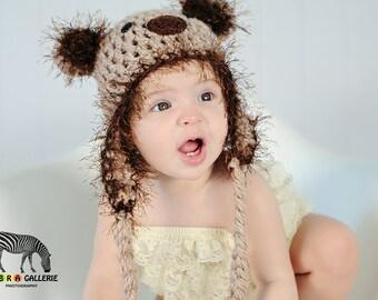 Koala Bear Crochet Hat Textured Cream Taupe Grey Button Eyes Earflaps Black Nose Baby Toddler Child Teen Adult
