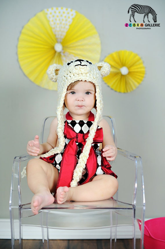 Polar Bear Crochet Hat Textured Off White Button Eyes Earflaps Baby Toddler Child Teen Adult