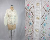 70s Cardigan / Fairy Blossom White Knit Cardi Sweater / Small Medium