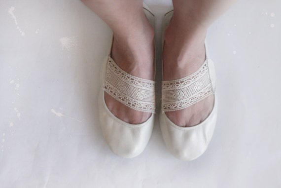 Leather and Lace - Handmade Leather Ballet flats - CUSTOM FIT