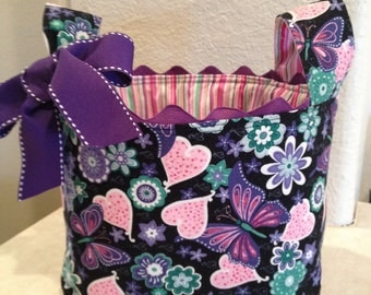 Hearts and Butterflies Fabric Basket