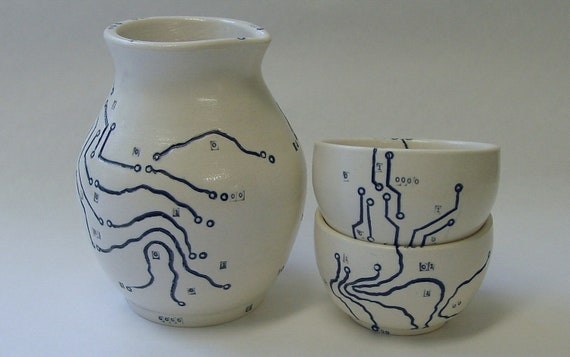 Circuit Board and Map Porcelain Saki Set