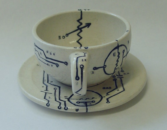 Electronic Diagrams Cup and Saucer Set