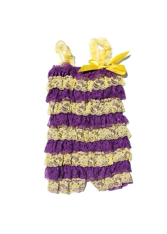 SALE Los Angeles Lakers Inspired petti lace romper, Lace romper, Petti romper, ruffle romper,baby lace romper, LA Lakers lbaby lace romper.