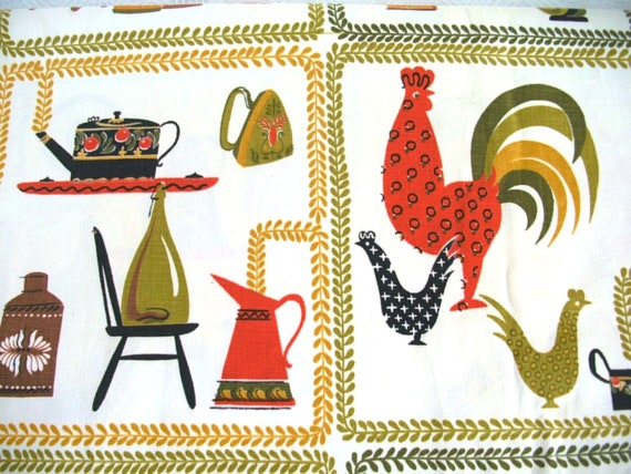 Vintage Upholstery or Drapery Fabric--Avocado Roosters and Kitchenware--3 Yards