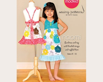 Modkid Sewing Pattern by Patty Young - NAOMI - Sundress and Top with Braided Straps and Ruffled Hem - Girls Dress Pattern