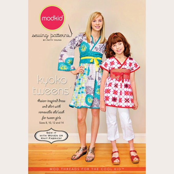 Modkid Sewing Pattern by Patty Young - KYOKO TWEENS' - Asian-inspired Shirt and Dress with Removable Obi/Sash - Girls Dress Pattern