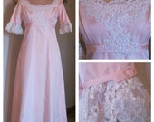 Vintage PINK Wedding Gown or Bridesmaids Dress Extra Small