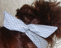 Dolly Bow, Silver Grey Chevron Flexible Wire Headband Teen Girl Woman 50s hair
