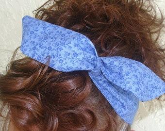 Headband Dolly Bow Wire Flexible Headband Blue with Dark Blue Flowers Hair Accessory Women Teen