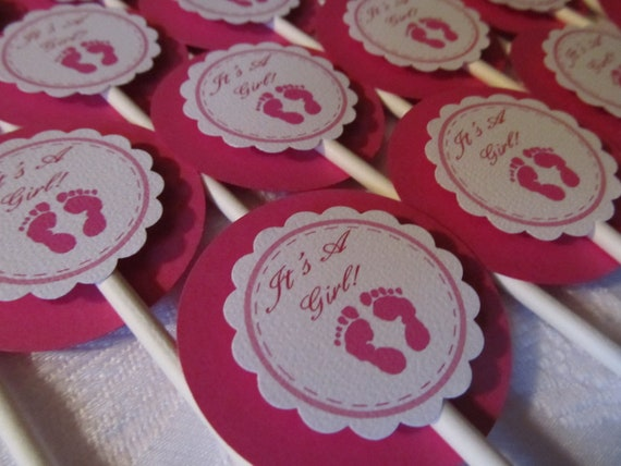 Baby Shower Cupcake Toppers - Gender Reveal Decor - Baby Shower Decor