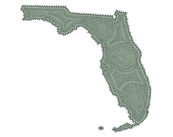 "Florida State Paisley Print - 8""x10"" Fine Art Print on Watercolor Paper"