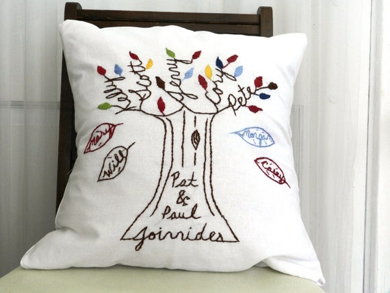 Personalized Family Pillow Cover with Falling Leaves. Gift for Mom. Family Pillow. Last Name. Gift for Wife. Parents of the Bride or Groom.
