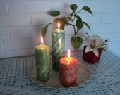 TYE DYE PILLAR Wedding Candles, Hand Painted, All colors, Original Designed to Order
