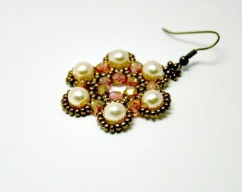 Beaded Flower Tutorial PDF - Flower Tile Earrings