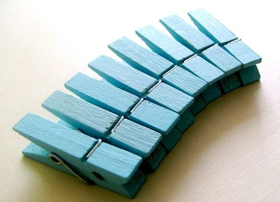 New Color 24 pcs Clothespins Tiffany Blue Medium Size (35x8mm)