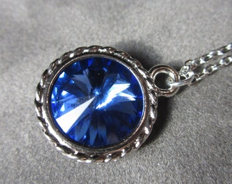 Sapphire Necklace, Swarovski Crystal Blue Necklace, September Birthstone, Silver Rhinestone Pendant Jewelry, Birthstone Necklace