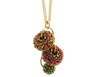 Autumn Leaves Cascade Pendant on chain - beaded beads Sharri Moroshok