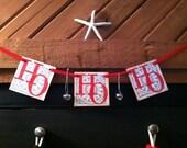 Holidays Christmas Decoration HO HO HO Garland Christmas Banner With Bells/ Christmas Decoration/ Red and Silver Holiday Decoration Banner