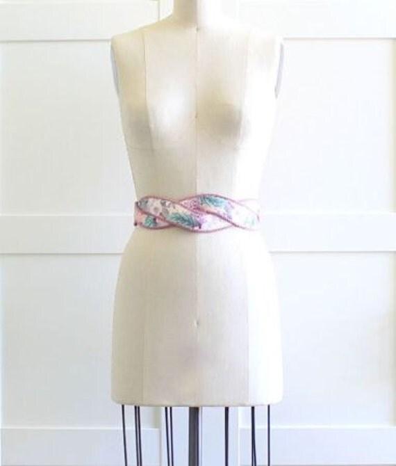 80s Pastel Floral Belt, Cummerbund Wide Belt, Woven Cotton Belt, size Small Medium
