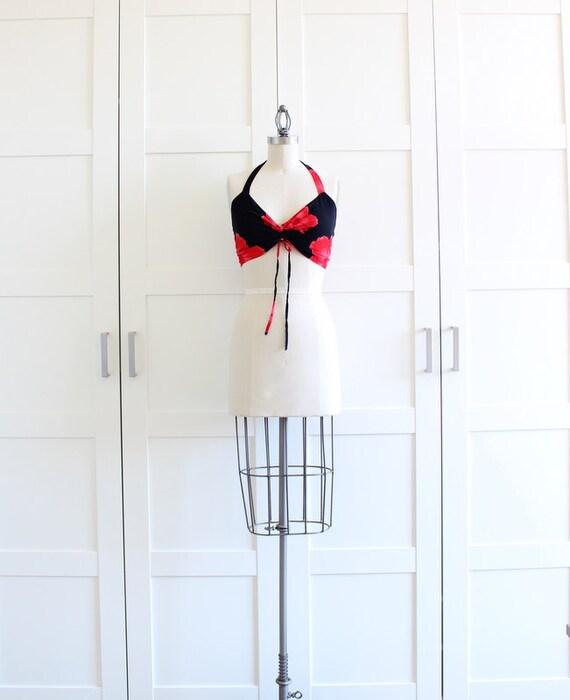 SALE - Rockabilly Halter Top Bra Top, Pin Up Clothing Bikini Top Pinup Top, size Medium
