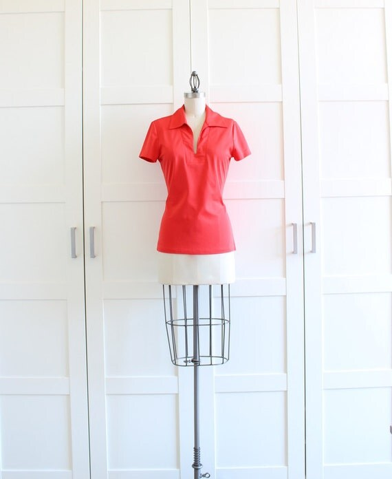 SALE - Nautical Ship N Shore Polo Shirt, Red Sailor Pinup Top Womens Blouse, size Medium