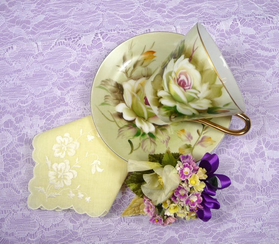SALE Vintage Teacup & Saucer Demitasse Roses with Vintage Pale Yellow Hankie NWT and Vintage Millinery Corsage Gift Set