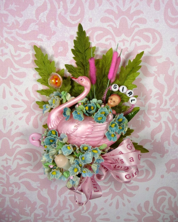Baby Girl Shower Corsage Vintage Pink Swan It's A Girl Mommy to Be Decoration