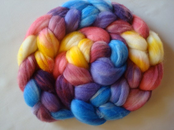 Hand Painted Superwash Wool Roving. 4 Ounces for spinning