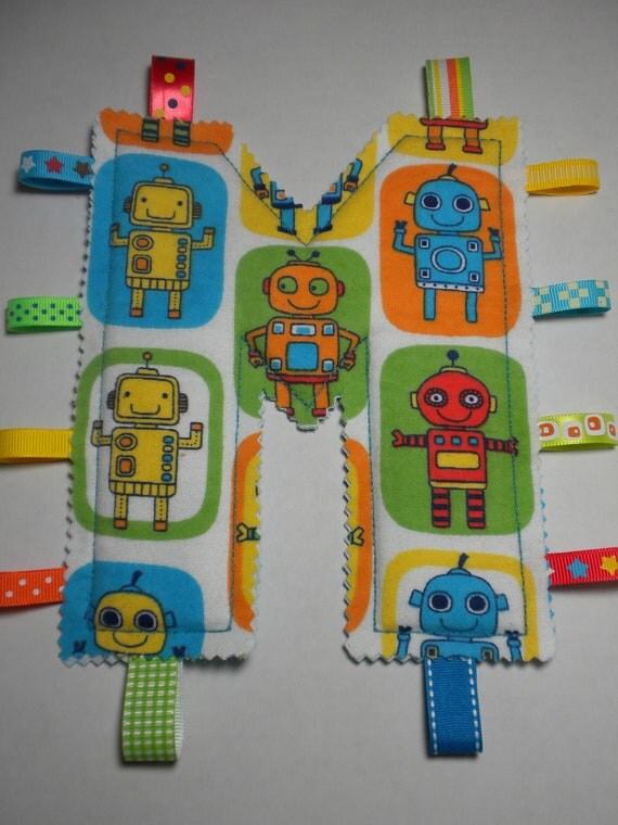 ROBOTS - Monogram Tag Toy  - Personalized Alphabet Toy for Your Baby Boy - YOUR CHOICE of Letter