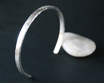 Sterling Silver Cuff Bracelet Handmade Hammered Finish Simple Classic Design