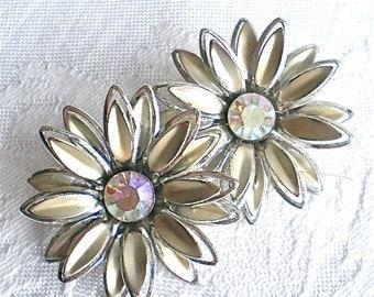 Vintage Earrings, Silver Earrings, Rhinestone Earrings, Mad Men, Flower Earrings, Retro,1960s
