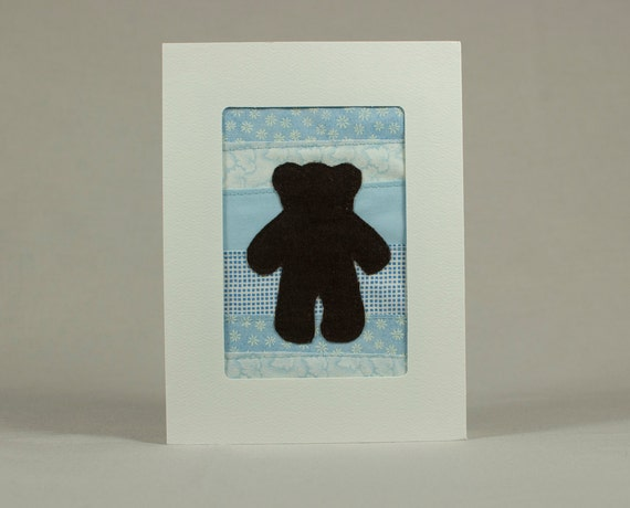 Teddy Bear Quilt Greeting Card - Blue - Baby Boy - Shower Card - Kid's Birthday Card - Child's Birthday