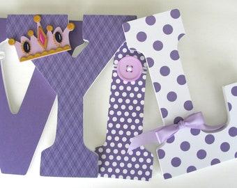 Baby Nursery Wall Letters - Purple Princess Theme - Custom Wood Letter Set - Lavender