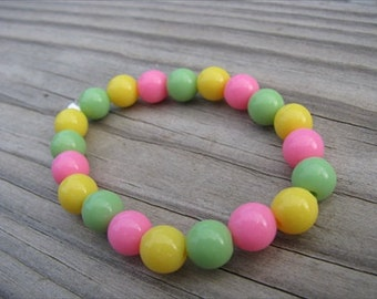 Girls Bracelet- Beaded Children's Jewelry- Pink, Yellow, Green