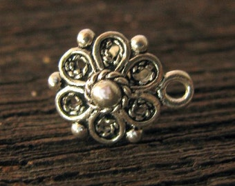 Sterling Silver Filigree Flower Post Earrings - SS Flower Studs 1 Pair  E156