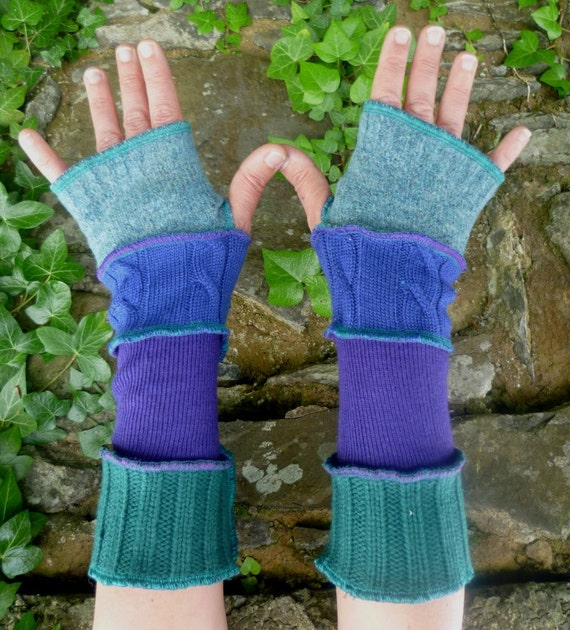 One of a kind arm warmers fingerless gloves from recycled sweaters blue & green  by SpiralGypsy