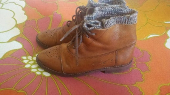 Wool Lined Leather Booties Size 6