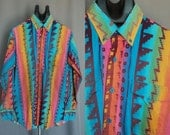 MENS 80s Vintage Southwestern COLORFUL Shirt. (L)