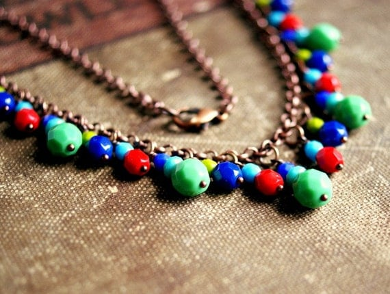 carnivale colorful beaded copper necklace